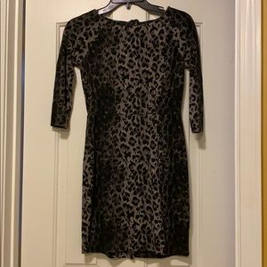 Gray and black leopard print dress